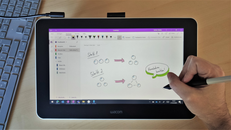 Microsoft OneNote on the Wacom One graphics tablet